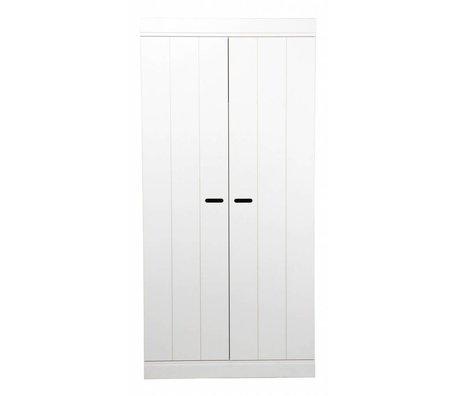 LEF collections Kleiderschrank 'Connect' mit 2 Türen aus Kiefer, weiß, 195X94X53cm