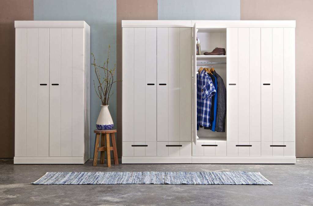 lef collections kleiderschrank 39 connect 39 mit 2 t ren aus kiefer wei 195x94x53cm. Black Bedroom Furniture Sets. Home Design Ideas