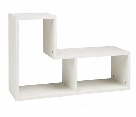 LEF collections Cabinet 'Tetris' Børstet fyr, hvid, 80x27x54cm