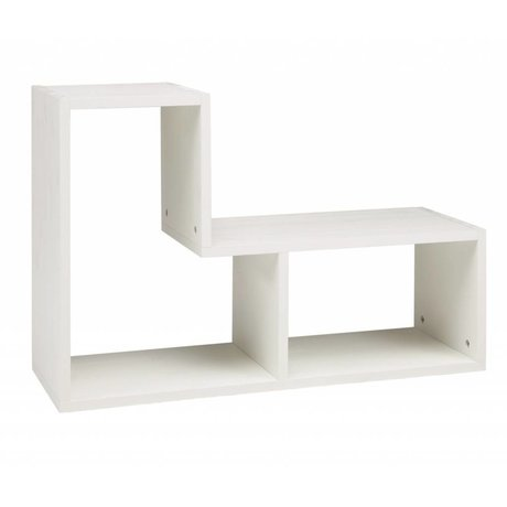 LEF collections Cabinet 'Tetris' Brushed pine, white, 80x27x54cm