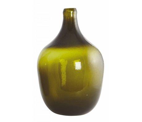 Housedoctor Vidrio soplado botella / florero 'Rec', de color verde oliva, Ø24x38cm