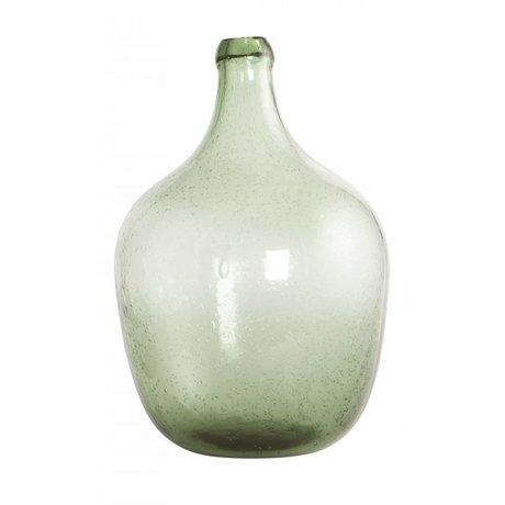 Housedoctor Vidrio soplado botella / florero 'Rec', de color verde claro, Ø19.5x28.5cm