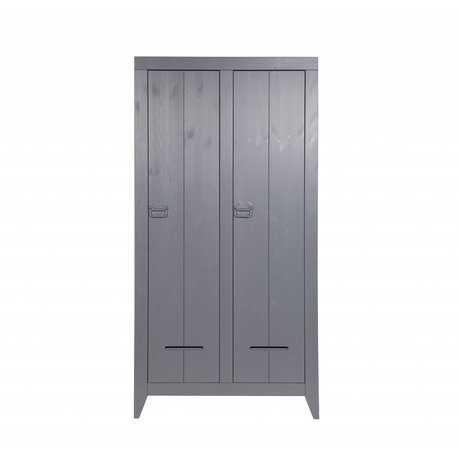 LEF collections Closet safe from brushed pine, gray, 95x44x190cm