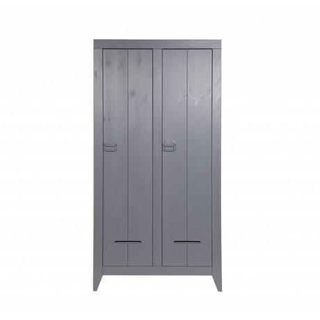 LEF collections Closet sikkert fra børstet fyr, grå, 95x44x190cm