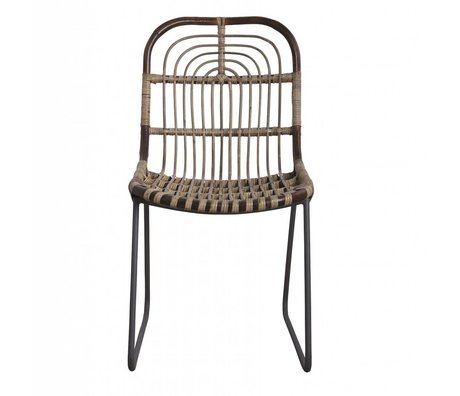 Housedoctor Salle chaise Kawa métal / rotin, gris, 46x52x86cm