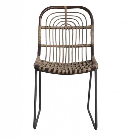 Housedoctor Yemek sandalye Kawa metal / rattan, gri, 46x52x86cm