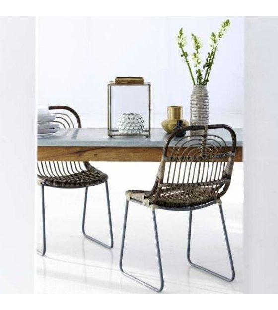 Rattan gray 46x52x86cm housedoctor dining chair kawa metal rattan gray