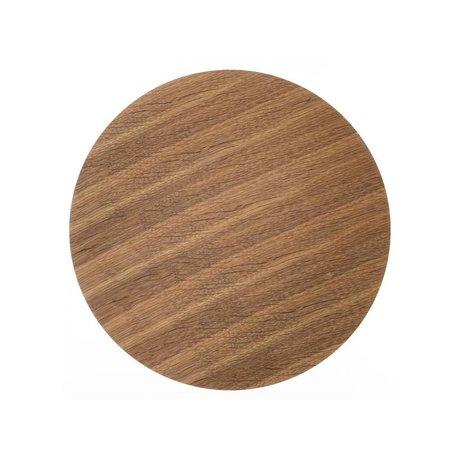 Ferm Living Pannello in legno per impiallacciato rovere cestino di metallo, marrone, Ø 40 centimetri