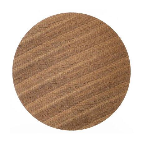 Ferm Living Panneau de bois pour placage chêne panier métallique, brun, Ø 50 cm