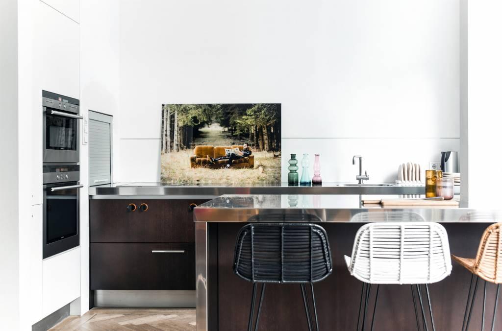 Hk living sgabello da bar realizzato in rattan nero 88x47x46cm