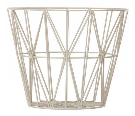 Ferm Living Cesta hecha de hierro con revestimiento de polvo en tres tamaños, de color gris, 40x35cm, 50x40cm, 60x45cm