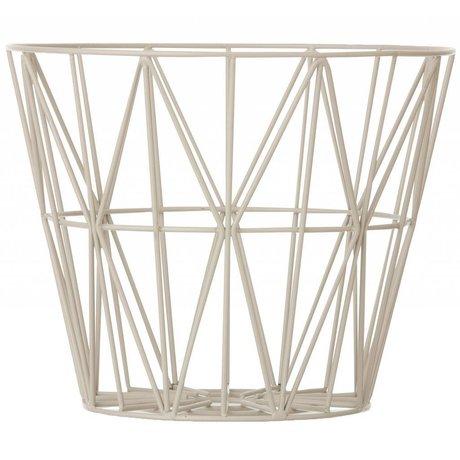 Ferm Living Basket lavet af jern med pulverlakering i tre størrelser, grå, 40x35cm, 50x40cm, 60x45cm