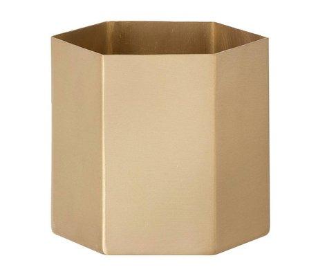 """Ferm Living Pot """"hexágono"""" de cobre, cobre mate, Ø13, 5 x 12 cm"""