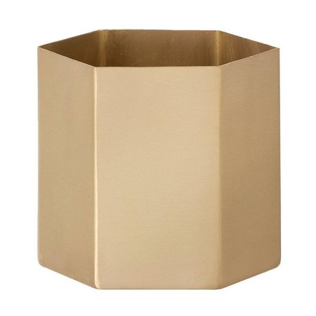 Ferm Living Pot 'esagono' di rame, rame opaco, Ø13, 5 x 12cm