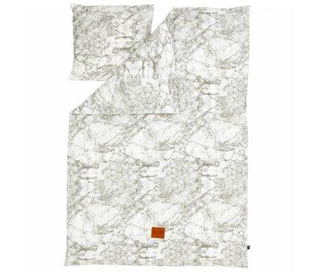 Ferm Living Sheets 'Mermer' pamuk, beyaz / gri, 140x200 cm - Yetişkin