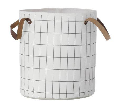 Ferm Living Basket Grid, sort / hvid, 35x40cm