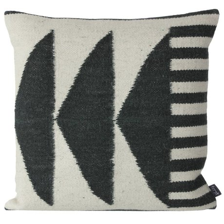 Ferm Living Pillows Kilim Black Triangles, black / gray, 50x50cm