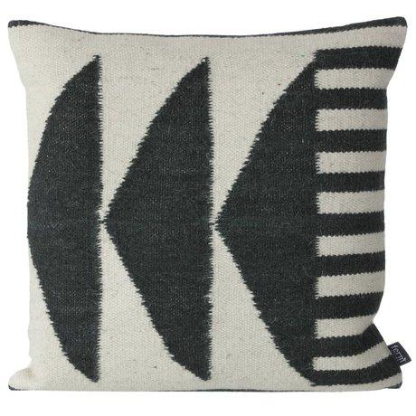 Ferm Living Yastıklar Kilim Siyah Üçgenler, siyah / gri, 50x50cm