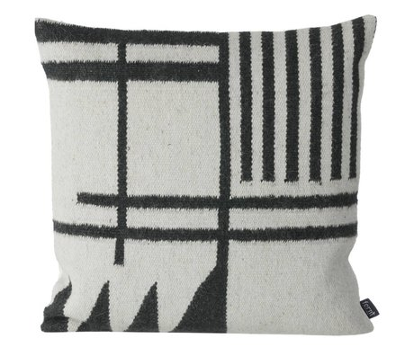 Ferm Living Pillows Kilim Black Lines, black / gray, 50x50cm