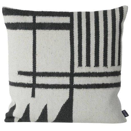 Ferm Living Puder Kilim sorte linjer, sort / grå, 50x50cm