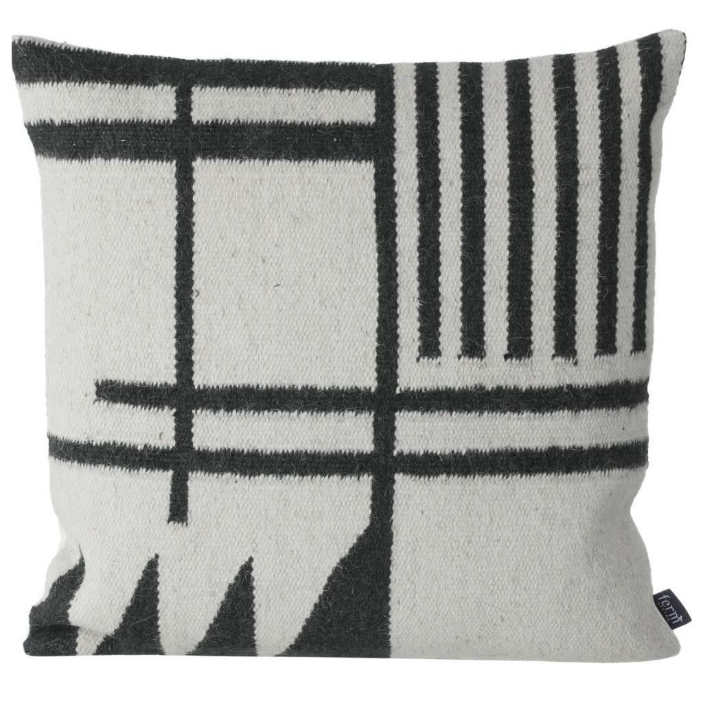 Charming Ferm Living Pillows Kilim Black Lines, Black / Gray, 50x50cm   Lefliving.com