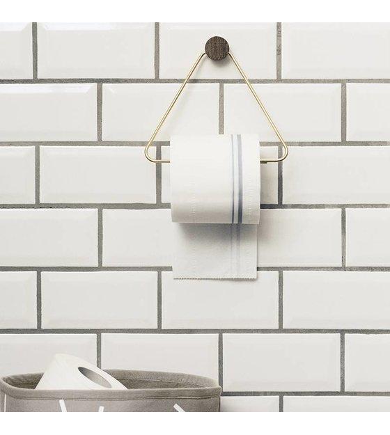 ferm living distributeur de papier toilette en laiton de couleur or 17x5x15cm lefliving