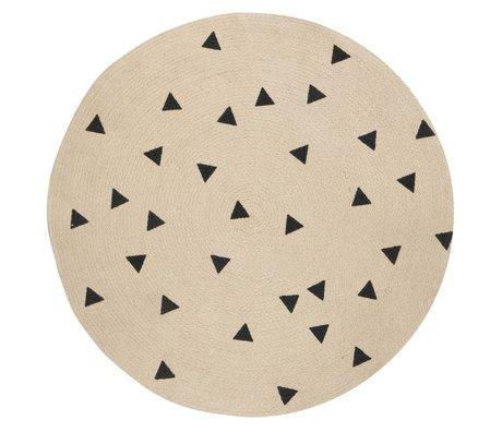 Ferm Living Alfombra ronda Triángulo, natural marrón / negro, Ø100cm