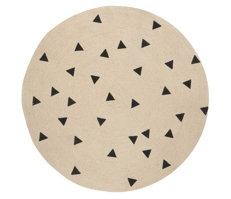Ferm Living Teppich Triangle rund, naturbraun/schwarz, Ø100cm