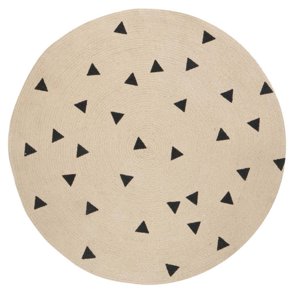 ferm living teppich triangle rund naturbraun schwarz 100cm. Black Bedroom Furniture Sets. Home Design Ideas