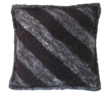 HK-living Cojín de lana, negro / gris, 50x50cm
