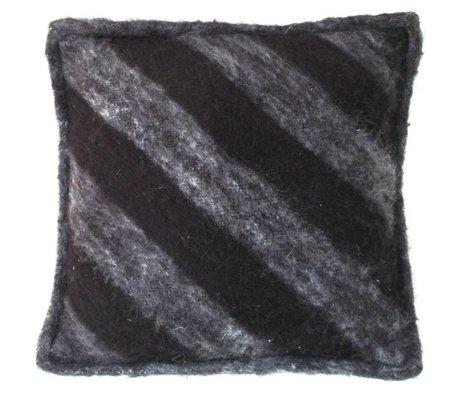 HK-living Kissen aus Wolle, schwarz/grau, 50x50cm