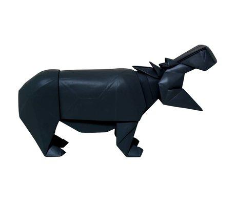 HK-living Hippo geo træ, sort, 35x9,5x19cm