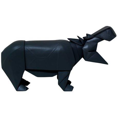 HK-living Hippo géo en bois, noir, 35x9,5x19cm
