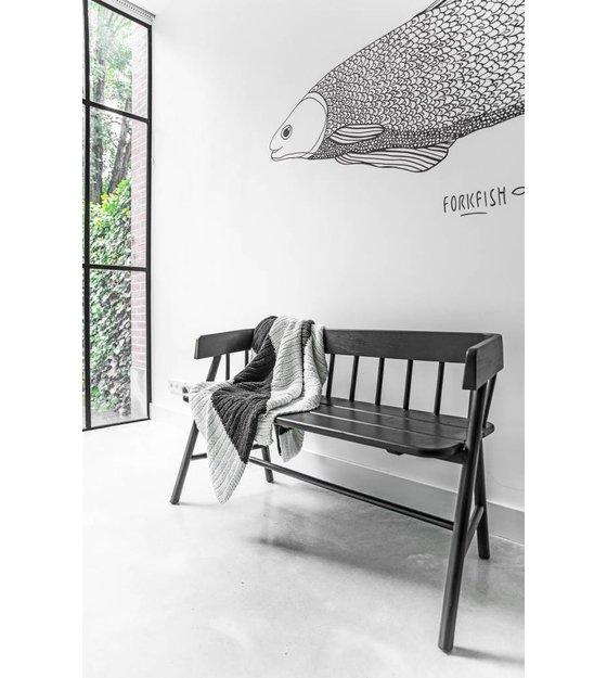 hk living panca di legno nero 123x45x72cm. Black Bedroom Furniture Sets. Home Design Ideas