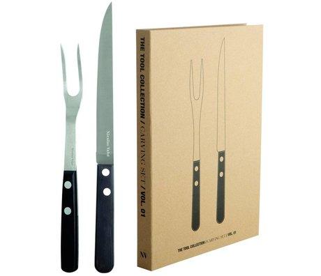Nicolas Vahé Steakset gaffel og kniv i rustfrit stål / Pakka træ, sort