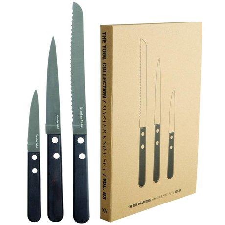 Nicolas Vahé Master Knife Set rustfrit stål / Pakka træ, sort, 3 forskellige blad