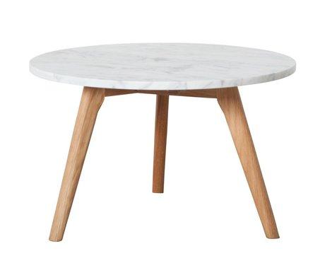 Zuiver Beistelltisch whitestone large aus Marmor, weiß/grau, Ø50x32cm