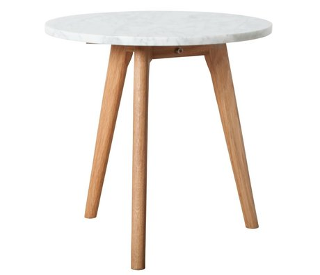 Zuiver Beistelltisch whitestone medium aus Marmor, weiß/grau, Ø40x40cm