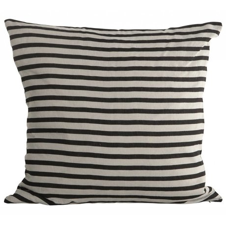Housedoctor Pillowcase Stripes linen, black / gray, 50x50cm