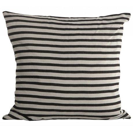 Housedoctor Pudebetræk Stripes linned, sort / grå, 50x50cm