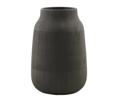 Housedoctor Vase Groove aus Steingut, schwarz, Ø15x22cm