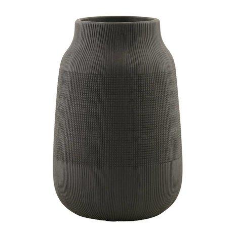 Housedoctor Groove terracotta vaso, nero, Ø15x22cm