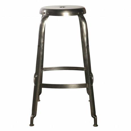 Housedoctor Definir taburetes de la barra de metal, gris, Ø36x75cm