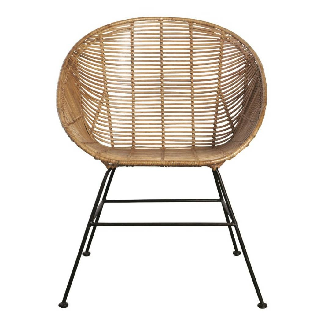 Housedoctor Retro lounge chair made of rattan brown 65 5x65x5x84 5cm lefl