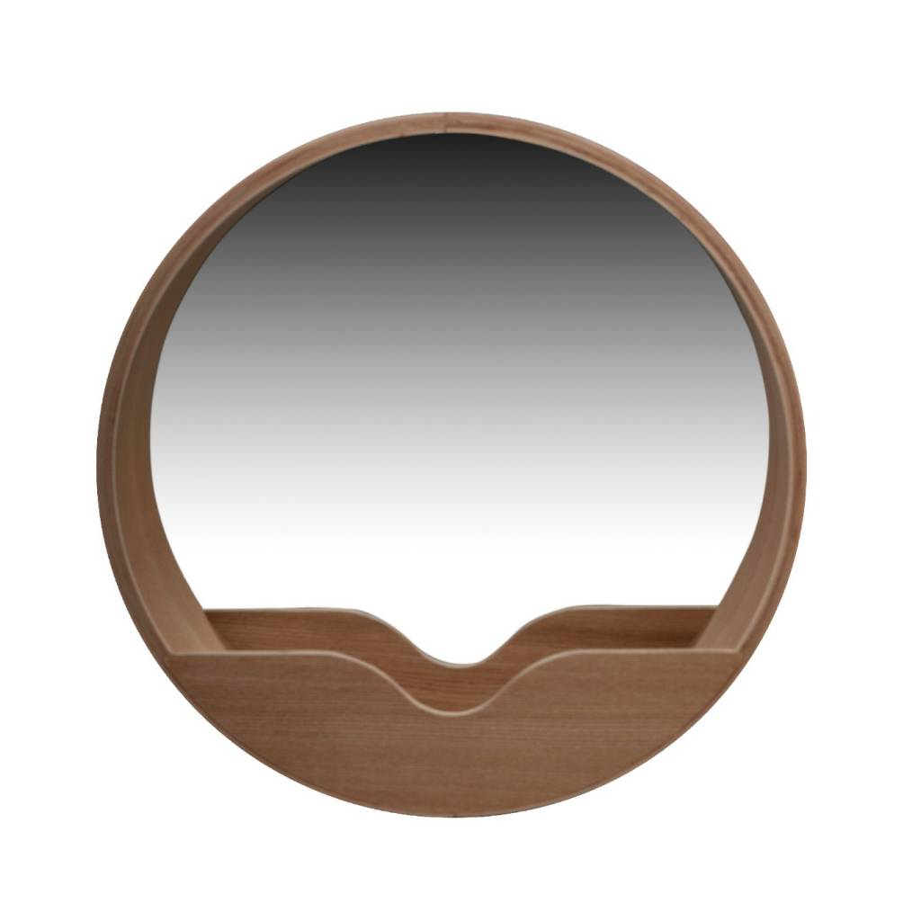 Zuiver round wall mirror in oak 40x8cm for Round mirror