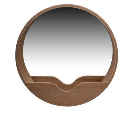Zuiver Round Wall Mirror en chêne, Ø60x8cm