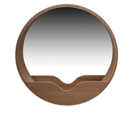 Zuiver Round Wall Mirror in oak, Ø60x8cm