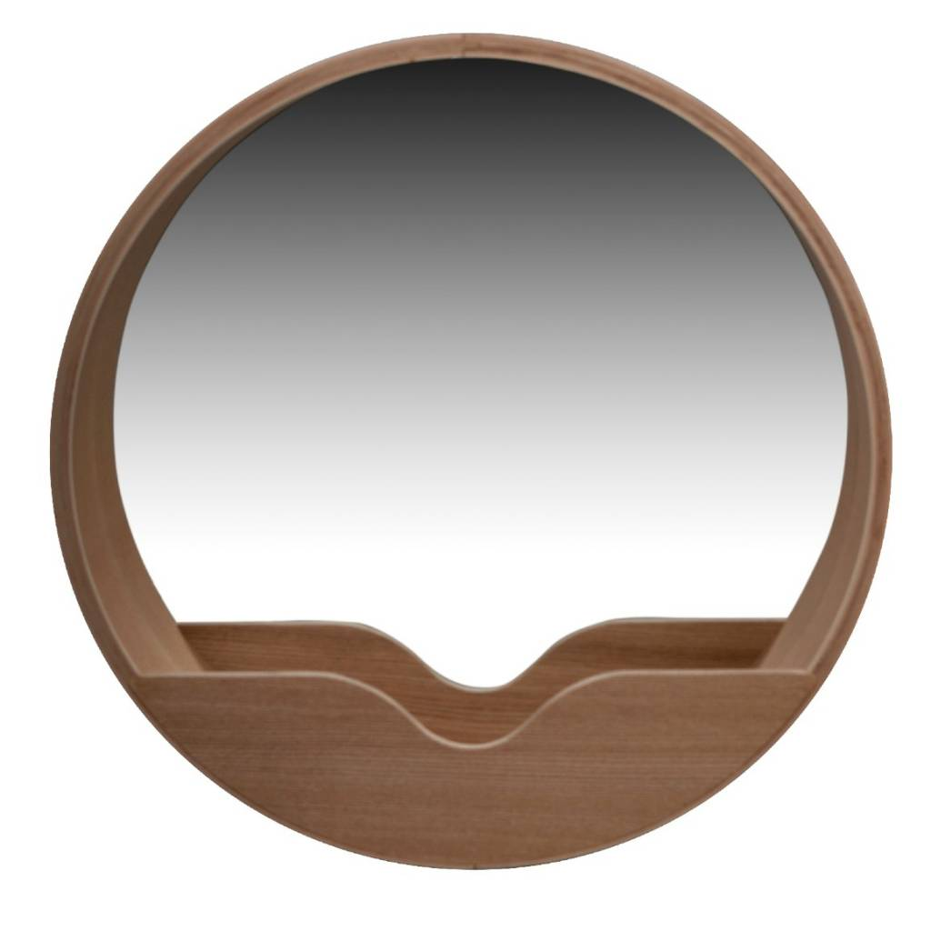 a round mirror round wall oak of zuiver with storage compartment handy for the hairbrush makeup or car keys we like practical and beautiful