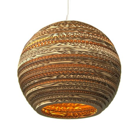 Graypants Hanging lamp Moon 10 cardboard, brown, Ø26x22cm