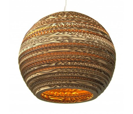 Graypants Hanging lamp Moon 14 cardboard, brown, Ø36x31cm
